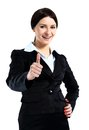 Smiling business woman with ok hand sign happy Stock Image