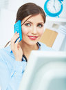 Smiling business woman on phone at office close up female port portrair in white posing young model Royalty Free Stock Photos