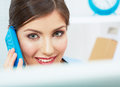 Smiling business woman on phone at office close up female port portrair in white posing young model Stock Photography