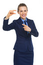 Smiling business woman pointing on small risks high resolution photo Stock Images