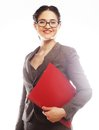 Smiling business woman with red folder portrait of isolated on white background Stock Photo