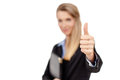 Smiling business woman showing thumbs up sign portrait of a confident young giving you a isolated against white copy space Royalty Free Stock Images