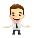 Smiling businessman character with open arms vector and in a white shirt black tie might be used as a corporate mascot Royalty Free Stock Photography