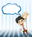 A smiling businessman with an empty cloud template illustration of Stock Image