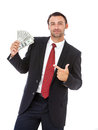 Smiling businessman holding money handsome isolated on white background Stock Photos
