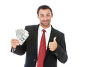 Smiling businessman holding money handsome isolated on white background Royalty Free Stock Image