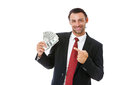 Smiling businessman holding money handsome isolated on white background Royalty Free Stock Photography