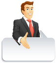 Smiling businessman with speech bubble gives a hand for a handshake gives a hand for the welcome vector illustration Stock Photography