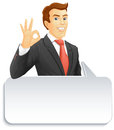 Smiling businessman with speech bubble ok show a okay hand sign vector illustration Stock Photography