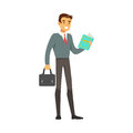 Smiling businessman standing and reading a book vector Illustration