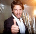 Smiling businessman with Thump up Royalty Free Stock Photography