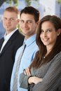 Smiling businesspeople standing outdoors Stock Photos