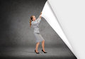 Smiling businesswoman changing sceneries Royalty Free Stock Photo