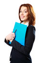 Smiling businesswoman holding notebook and pen Royalty Free Stock Photography