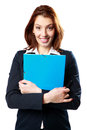 Smiling businesswoman holding notebook and pen Royalty Free Stock Images