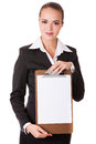 Smiling businesswoman holding a white clear papper Stock Image