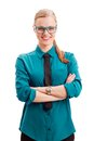 Smiling businesswoman over white Royalty Free Stock Photos