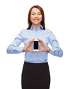 Smiling businesswoman with smartphone blank screen business technology internet and education concept friendly young Stock Photo