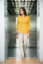 Smiling businesswoman standing in elevator Royalty Free Stock Photo