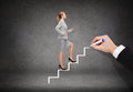 Smiling businesswoman stepping up staircase business and education concept Stock Photos