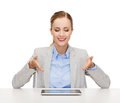 Smiling businesswoman with tablet pc business technology internet and office concept computer Stock Photos