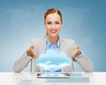 Smiling businesswoman with tablet pc business technology internet and office concept computer and cloud projection Royalty Free Stock Photo