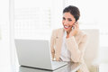 Smiling businesswoman working with a laptop on the phone Royalty Free Stock Photo