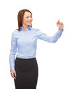 Smiling businesswoman working with virtual screen Stock Images