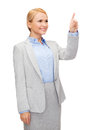 Smiling businesswoman working with virtual screen business and future technology concept young Royalty Free Stock Images