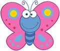 Smiling butterfly cute cartoon mascot character Stock Photos