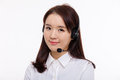 Smiling call center operator business woman Royalty Free Stock Photo