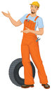Smiling car mechanic vector illustration of pointing Royalty Free Stock Image