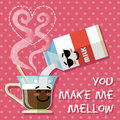 Smiling cartoon on coffee cup and milk carton pouring into with steam in heart shape Royalty Free Stock Photography