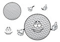 Smiling cartoon dimpled white golf ball character happy with symmetric pattern for sporting mascot design Stock Photos