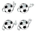 Smiling cartoon football set Royalty Free Stock Photography