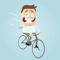 Smiling cartoon man rides bicycle Stock Photography