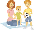 Smiling cartoon mother baby son holding soccer ball Stock Image
