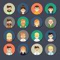 Smiling cartoon people icons set