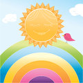 Smiling cartoon sun and little bird on rainbow vector format available Royalty Free Stock Images