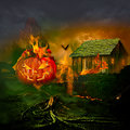 Smiling carved jack o lantern halloween pumpkin burning haunted house face glowing flaming interior scary evil spooky fire flaming Stock Image