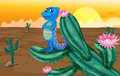A smiling chameleon illustration of in desert Royalty Free Stock Images