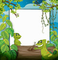 A smiling chameleons illustration of and white board in beautiful nature Royalty Free Stock Image