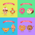 Smiling Characters. Set of Funny Sweets Flat Design.
