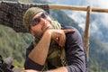 Smiling cheerful man guy tourist posing keffiyeh wearing sunglasses. Royalty Free Stock Photo