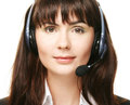 Smiling cheerful support phone operator Stock Images