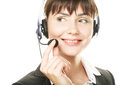 Smiling cheerful support phone operator in hea Stock Photos