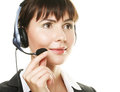 Smiling cheerful support phone operator in hea Royalty Free Stock Images