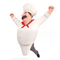 Smiling chef with big jump Stock Image