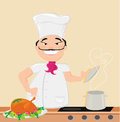 Smiling chef cooks soup illustration Royalty Free Stock Photography