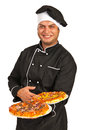 Smiling chef serving pizza man isolated on white background Stock Photography